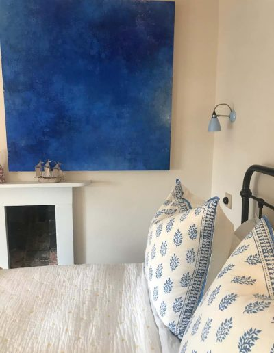 Blue And White Handblock Cushions With Hector Wall Light