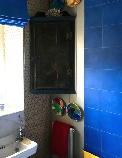 Robert Kime Wallpaper and Blue Roman Blind